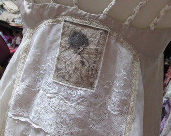 SALE ..Vintage Kitty.. divine vintage lace scrap cami .. delicate, romantic, gorgeousness, shabby chic.. ,cream, ecru small/med