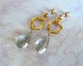 Green Amethyst Earrings- Gold Filled, Twisted Rings