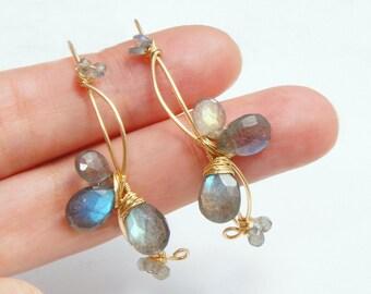 Labradorite Hoop Earrings, Gray Gemstone Jewelry, Large Earrings, Gold Filled Earrings, Yukojewelry