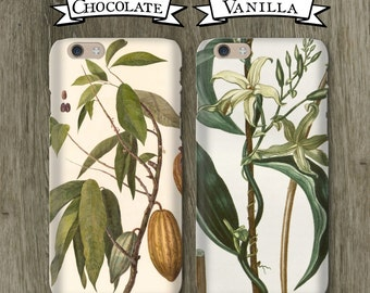 Valentines Day Gifts Chocolate Vanilla Couples Phone Cases, Opposites Attract- iPhone / Galaxy Newlywed, Engagement, Girlfriend, Boyfriend