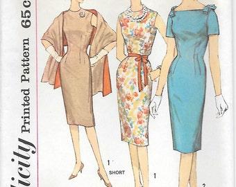 Simplicity 3793 UNCUT 1960s Mad Men Sleeveless Sheath Dress Vintage Sewing Pattern Stole Bust 32 34 Wiggle Dress