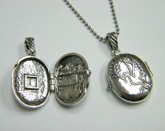 Sterling Silver necklace locket engraved with a Dove drawing jewelry perfect for photos or message