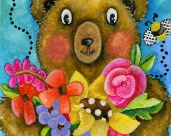 Original Watercolor Painting. Bear Bees & Botanicals