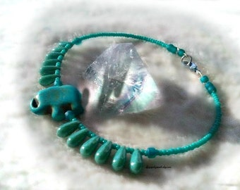 Turquoise Lucky Elephant Anklet,Summer Wear,Chakra Anklet,Boho Chic,Safari Animal,Fun,African Elephant Anklet,Ready to Ship,Direct Checkout