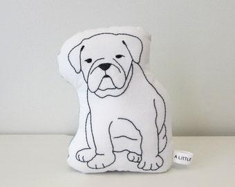 English Bulldog dog shaped pillow, hand embroidered, dog lovers plush, kids pillow