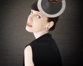 Grey Felt Cocktail Hat with Black and Brown Leather Accents - Lion Fish Fascinator - Made to Order