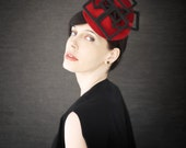 Red Felt Fascinator Hat with Black Geometric Fan Accent - Fractal Series - Made to Order