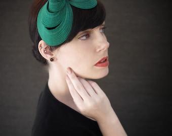 Persian Green Felt Headband Fascinator - Helix Series - Made to Order