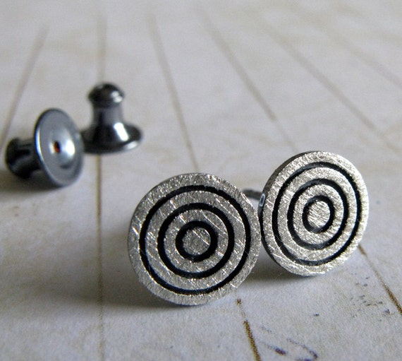 Concentric Circle Earrings: Concentric Circle Stud Earrings. Sterling Silver Or Solid 14k