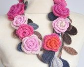 ROSA - Pink and Orange - Crochet Multicolor Roses Scarf/Lariat