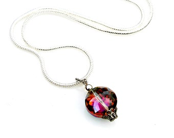 Crystal Pendant Necklace Bridesmaids Gifts Rainbow Sparkly Petite Pendant Wedding Party Classic Romantic Shimmer Vintage Flare by Mei Faith