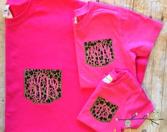 Mommy & Me Matching Monogrammed Faux Pocket Tees