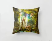 Mother Earth Dryad Cushion Cover, Faerie Queen Rainbow Tree Woman Pillow Slip
