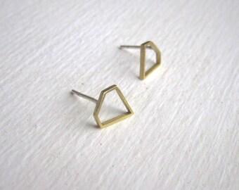 Open Brass Diamond Outline Stud Earrings, diamond earrings, little shapes, Everyday Jewelry, Small Brass Diamond studs 0172