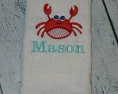 PERSONALIZED Crab Hand Towel Monogrammed or you choose design