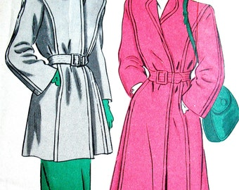 Unused 1940s Coat Vintage Sewing Pattern by Hollywood 1466  Bust 38 inches
