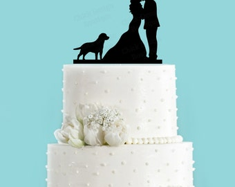 Couple Kissing with Labrador Retriever Dog Wedding Cake Topper