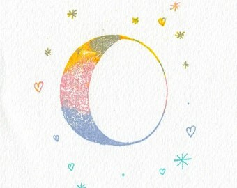 Moon and Stars Gocco Print