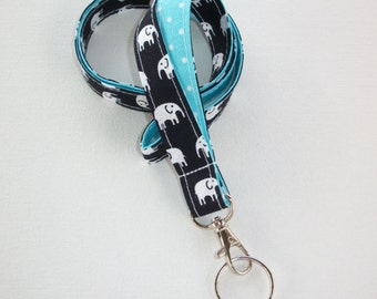 Elephant Lanyard  ID Badge Holder -  Black and white elephants with white pin polka dots on aqua  - Lobster clasp and key ring