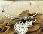 Love you to the moon and back Bracelet, Personalized Hand Stamped Bangle Bracelet, Silver Moon and Star Bracelet, Moon and Star Jewelry