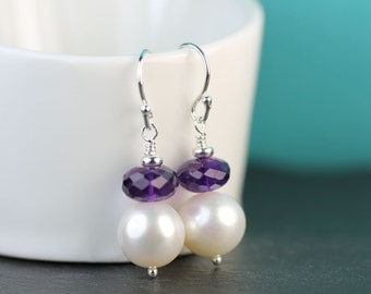 Pearl Earrings with Amethyst, February Birthstone, Sterling silver, 10mm Freshwater Pearl drop earrings, Free shipping in Canada, art4ear