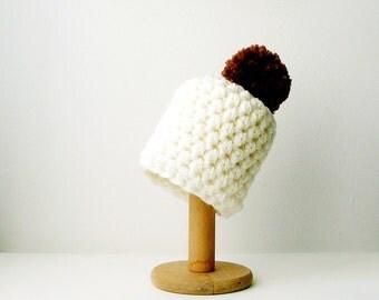 White Pom Pom Beanie Chunky Knit Hat with Brown Pompom Chunky Crochet Women's Beanie