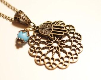 bronze Hamsa necklace, Hamsa, Hand of Fatima, short necklace, Boho, mandala, rosette, rhinestone, Judaica, Arabic, Oriental, חמסה
