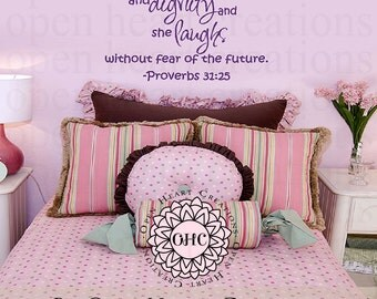 She is Clothed in Strength and Dignity Girl Wall Decal Proverbs 31:25 Scripture Baby Nursery Quote  22H x 36W QT0305