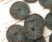 Teal Blue - Rustic Aster Wheel carved tribal boho chic wildflower disc beads - set of 2 beads (ready to ship)