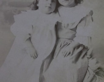 Hugging Sisters-Girls-Long Hair-Fashion-Antique Cabinet Photo-Springfield,OH
