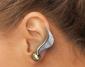 Sterling Silver Ear Climber Earrings,  Harry Potter Earrings Golden Snitch Earrings, Harry Potter Snitch Jewelry, Ear Crawlers