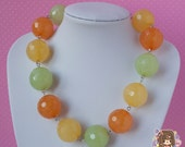 Green, Orange and Yellow Gumball Bead Necklace Kitsch Kawaii Chunky Bold Statement