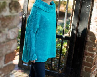make your own Katy Tunic (DIGITAL KNITTING PATTERN) Teen Adults to Plus