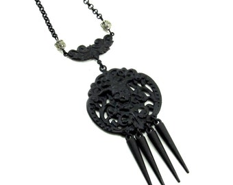 Death Mask Necklace with Hanging Spikes and Black Metal Chain - Gothic Boho, Bohemian, Memento Mori, Macabre, Dark Art Nouveau