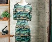 Amelie Liberty Print Dress - Iceland landscape printed dress - green dress - silk dress -  knee length dress - Liberty of London dress
