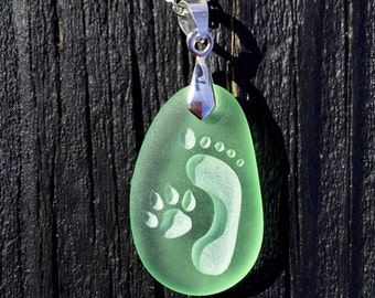 Footprint and Dog Paw Forever Friends engraved Sea Glass pendant Jewelry - choose your color