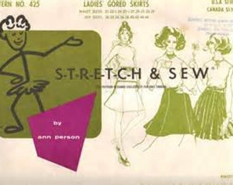 Stretch & Sew 425  Size 21 to 33  Ladies Gored Skirts.   1970 Sewing Pattern