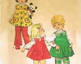 Simplicity 5872  Size 1  Toddlers Jumper and Bell-Bottom Pants.    1970's Sewing Pattern