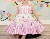 Spring and Easter Floral Dress for Girls, Baby Girls, Toddlers - Lace Detail - Pink White - Birthday - Party - Holiday - Family Pictures