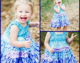Aqua Blue Lavender Dress - Twirl Dress - Special Occasion - Church Dress - Tiered Dress - Spring Dress - Easter Dress - Baby Toddler Dress