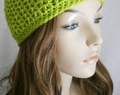 Girls Slouchy Cap or Womens  Skull Cap Fitted Beanie for Women Men or Teens Unisex Hat Lime Green Hat Skater Boy Pick Your Color