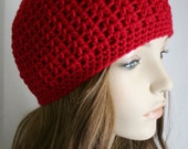 Girls Slouchy Hat or Womens Skull Cap Fitted Beanie for Women Men or Teens Unisex Hat Cherry Red Hat Skater Boy Pick Your Color