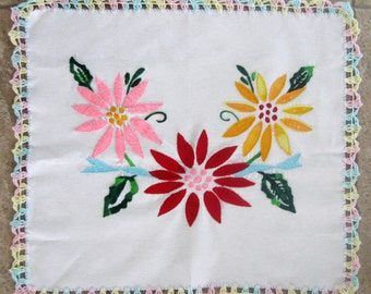 Vintage Linen Doily Table Topper Embroidered Flowers Red Gold Pink Aqua
