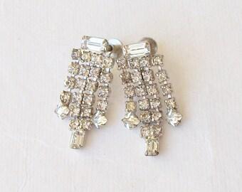 Vintage Clear Rhinestone Tassel Earrings, Tassel , 1950 clip earrings