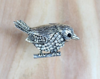 Cute Bird Drawer knobs - Furniture Knobs - Cabinet Hardware in Silver with Crystals (MK163)