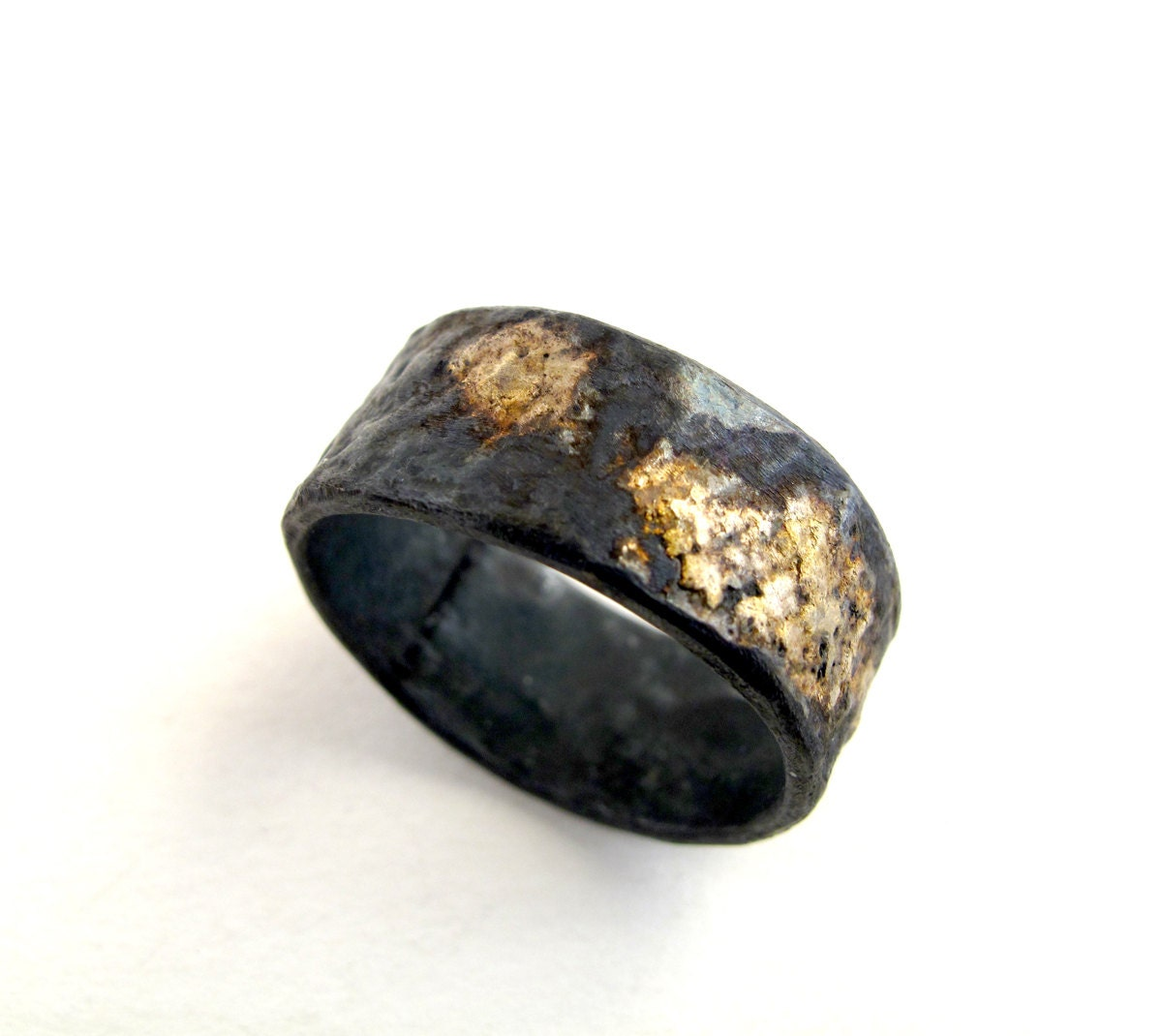 for gold and silver ring oxidized silver with 18kt gold