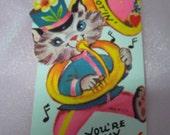 """Vintage 1970's """"Darn Tootin You're My Valentine""""  Novelty Kitten Valentine's Day Card"""