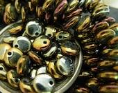 6mm Lentil Beads, Czech Glass Beads, Metallic Glass Beads- Brown Iris (50)