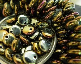 6mm Czech Lentil Glass Beads- Brown Iris (50)
