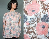 High Pleated Collar Blouse XL Vintage Pink Gray White Floral Secretary Shirt Free US Shipping